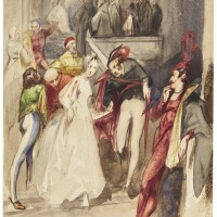 424. alfred elmore, r.a. | a theatricalscene, probably from faust