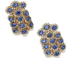 117. pair of 18 karat gold, sapphire and diamond earclips