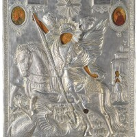 460. a large silver icon of saint george, andrei grigoriev, moscow, 1819