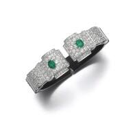 124. emerald, diamond and lacquer bangle, circa 1930