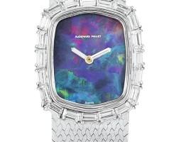 26. audemars piguet   a white gold and diamond-set bracelet watch with opal dial, circa1985