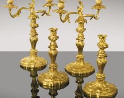 43. a pair of gilt-bronze candlesticks, louis xv, circa 1740,probably german  