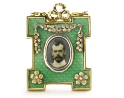 5. a russian gem-set gilded silver and transparent enamel photograph frame, retailed by fabergé, st. petersburg, 1898-1908
