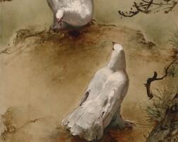 418. 李曼峰   一對白鴿