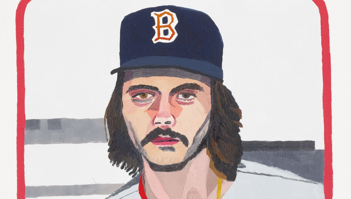 A painting of a baseball card of Red Sox player Dennis Eckersley