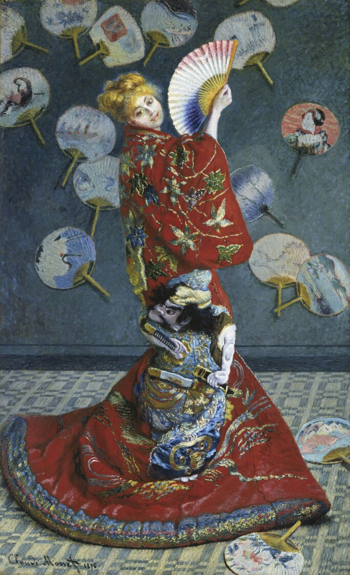 A painting of Camille Monet dressed as a geisha in an elaborate red robe, looking over her shoulder, with a fan.