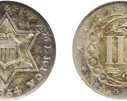 6. three-cent piece, silver, 1854, ngc ms 65 cac