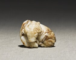 242. a white and brown jade carving of a buffalo ming dynasty |