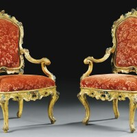 42. a pair of italian carved giltwood and lacquered armchairs venice, circa 1750