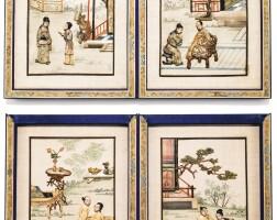 36. ensemble de quatre panneaux érotiques dynastie qing, canton, xixe siècle  