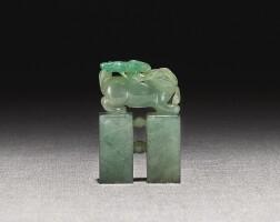 263. a jadeite 'mythical beast' seal 19th / 20th century  