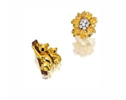 1605. yellow diamond and diamond 'flower' ring, van cleef & arpels, and 18 karat yellow gold 'koala bear' brooch, cartier