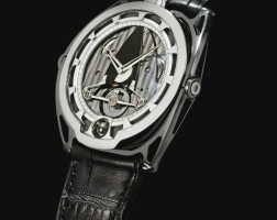 141. de bethune   db28 'aiguille d'or', reference db28tis8sle a limited edition titanium semi-skeletonised wristwatch with spherical moon-phase, power reserve indication and articulated lugs, circa 2011