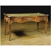 212. a gilt-bronze mounted and rosewood bureau-plat louis xv style, 19th century