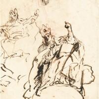335. giovanni domenico tiepolo   studyof a bishop seated on a cloud