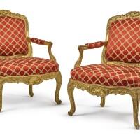 1008. a pair of louis xv giltwood fauteuilsà la reine, mid-18th century |