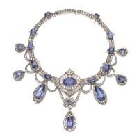 344. sapphire and diamond necklace, circa 1880