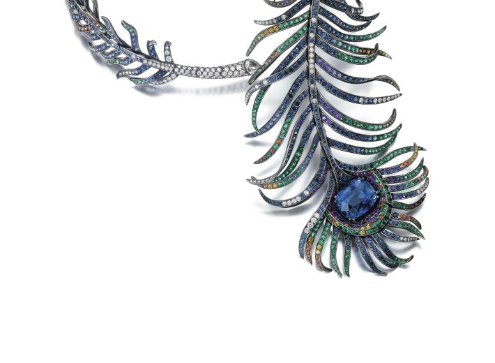Gem set and diamond necklace,'Plume de Paon', Boucheron sapphire weighing 40.88 carats, Ceylon, no heat