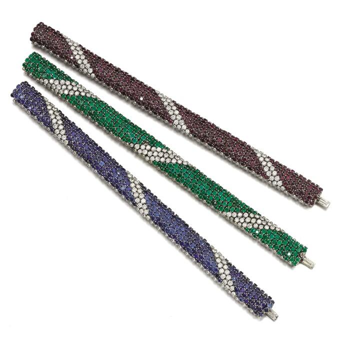 Three gem set and diamond bracelets. Estimate £4,500–5,500.