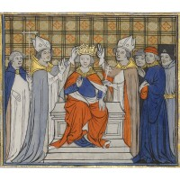 3. grandes chroniques de france, in french, three miniatures on cuttings from an illuminated manuscript on vellum