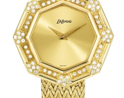 42. delaneau | a yellow gold and diamond-set bracelet watch, circa 1980