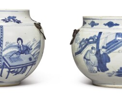 1002. two chineseblue and white jars, qing dynasty, kangxi period |