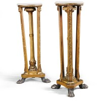 929. a pair of regency simulated birdseye mapleand parcel-gilt torchéres, second quarter of the 19th century