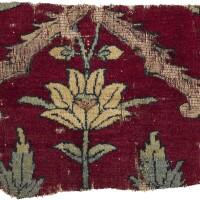 38. a mughal trellis carpet fragment, kashmir