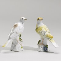 14. an assembled pair of meissen figures of canaries circa 1745