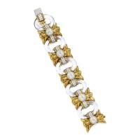 16. 18k黃金及鉑金鑲白水晶配養殖珍珠及鑽石手鏈, david webb