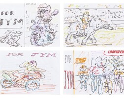 529. frank auerbach   vroom vroom; elephant races; the track; the tour de nelly [four works]