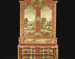 24. an italian rococo carved giltwood, lacca povera and painted bureau cabinet, mid-18th century