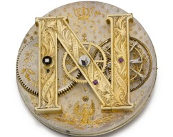 96. e. buffat   an extremely rare and interesting gold two minute tourbillon watchwith duplex escapement, themainwheel bridge in the form of an 'n', the numerals spelling napoleon iiicirca 1855