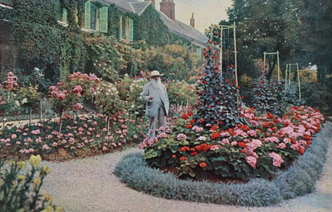 Claude Monet in the garden of his house at Giverny, France, 10 April 1905.