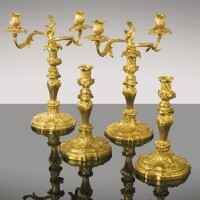 42. a pair of gilt-bronze candelabra,probably german, mid-18th century  