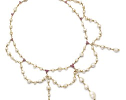 29. pearl, natural pearland ruby necklace
