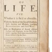 45. of the term of life (tzeror ha-hayyim), menasseh ben israel, london: j. nutt, 1699