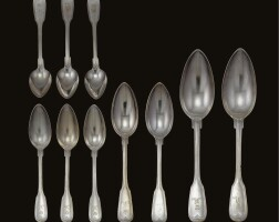 39. a group of royal german silver spoons, the majority made by ernst friedrich kemnis, hanover, circa 1855
