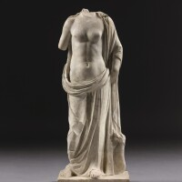 23. a roman marble figure of aphrodite with ketos, circa 2nd century a.d. | a roman marble figure of aphrodite with ketos