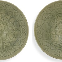 8. an exquisite and rare pair of carved 'yaozhou' bowls northern song dynasty