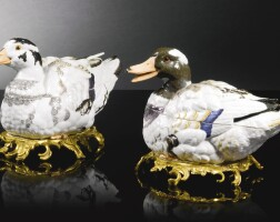 46. a pair of meissen duck tureens and covers circa 1785