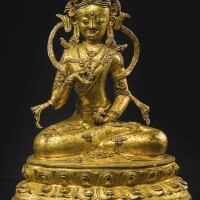 708. a gilt-bronze figure depicting vajrasattva tibet, circa 14th century