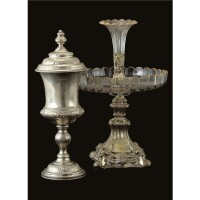 25. a royal german silver presentation cup and cover and a two-tiered fruit stand, the cup and cover maker's mark e, circa 1868