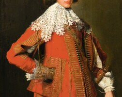 26. attributed to wybrand de geest1592 - 1661   portrait of a young man, standing full-length, in a red costume with elaborate gold trimmings and with lavishly decorated gloves