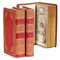 130. montaigne, michel de. les essais. bruxelles, foppens, 1659. 3 vol. in-12. maroquin rouge de bozerian.