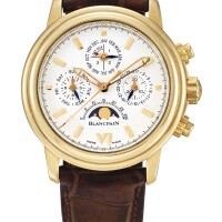 134. blancpain   léman a yellow gold perpetual calendar chronograph wristwatch with moon phases and leap year indication, circa 2007