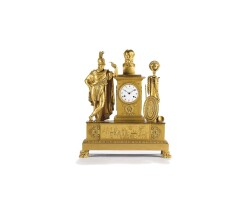 10. a large and attractive french empire ormolu sculptural mantel clock, circa 1800