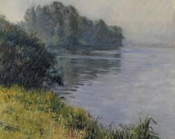 108. gustave caillebotte | la seine à l'île marante par temps brumeux