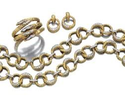 14. yellow gold, platinum and diamond demi-parure, m. gérard and a bangle, 1970s