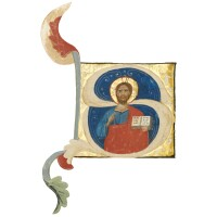 10. christ blessing, historiated initial cut from an illuminated manuscript on vellum
